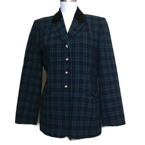 PENDLETON Wool Black watch green Plaid blazer 10P